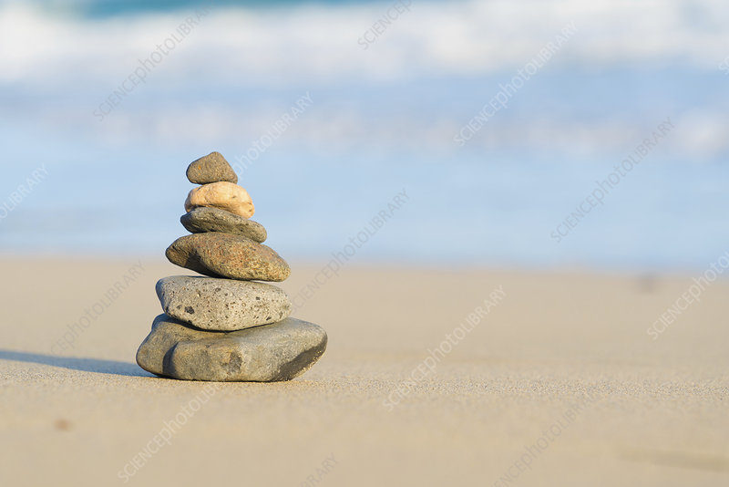 Stacked stones on a beach