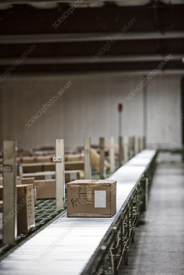 View of warehouse showing conveyor system to move products