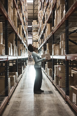 Worker checking inventory and carrying box in warehouse