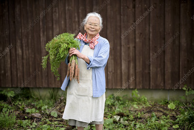 Woman in a garden, holding bunch of fresh carrots, smiling