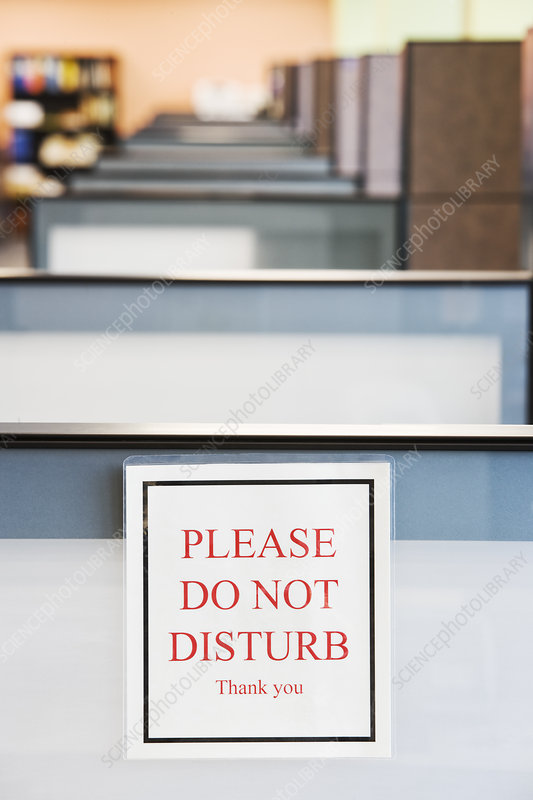 Do Not Disturb Sign On The Wall Of A Cubicle In An Office