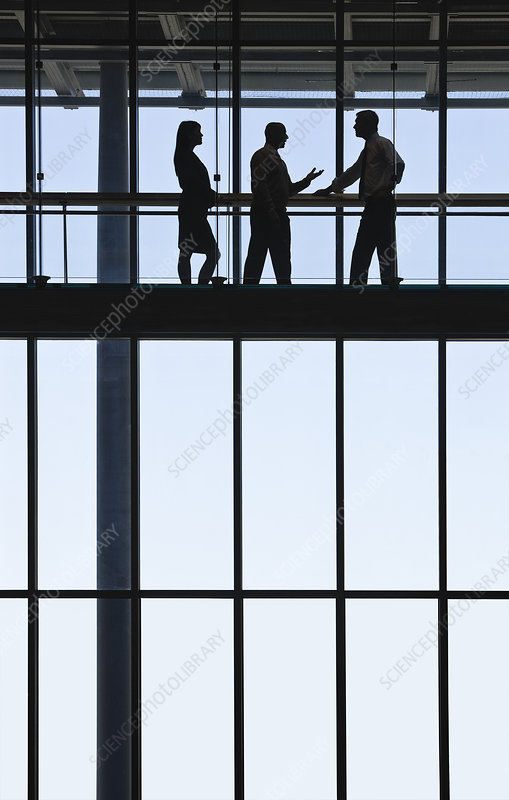 People meeting on elevated walkway between office buildings