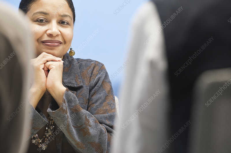Businesswoman in a conference room setting