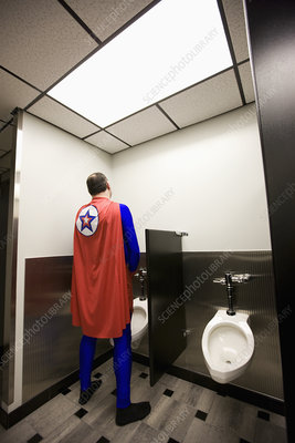 An office superhero takes a break between superhero feats