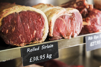 Rolled beef sirloin meat on shelf in chiller at a butcher's