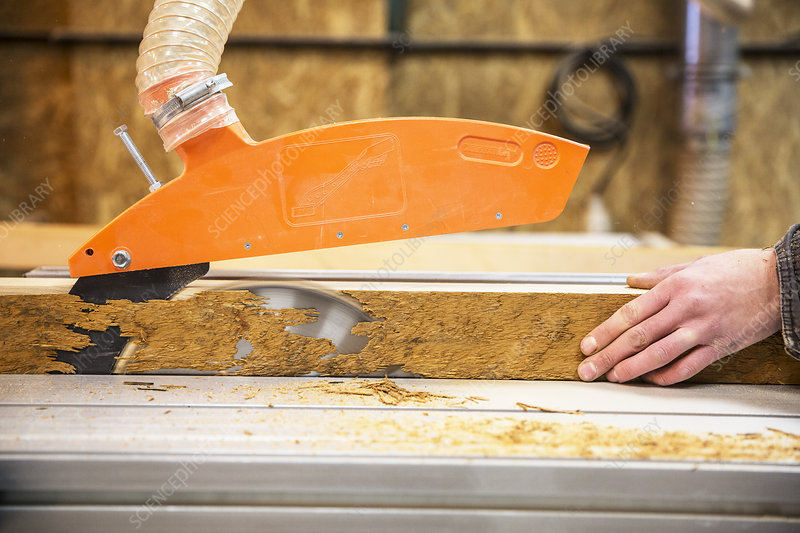 Person cutting piece of recycled wood with a circular saw