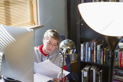 Businesswoman reviewing paperwork at computer