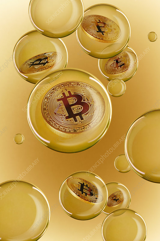 Bitcoins in golden bubbles
