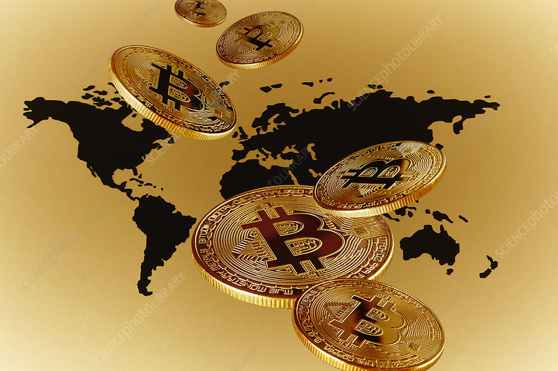 Golden Bitcoins over global map