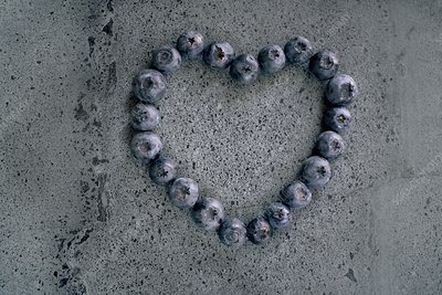 Blueberries in heart shape