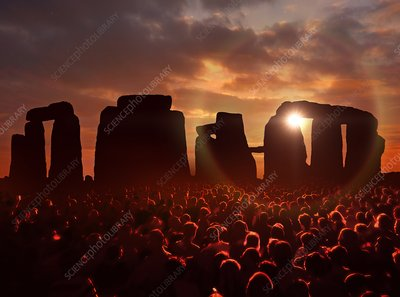 People gathered at Stonehenge, illustration