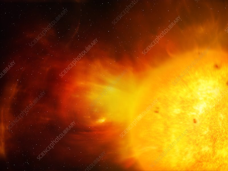 Sun and coronal mass ejection, illustration