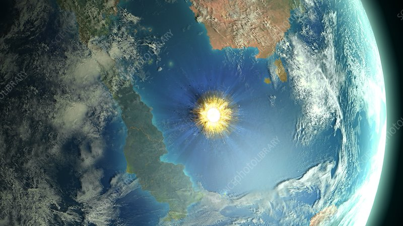 Chicxulub asteroid impact, illustration