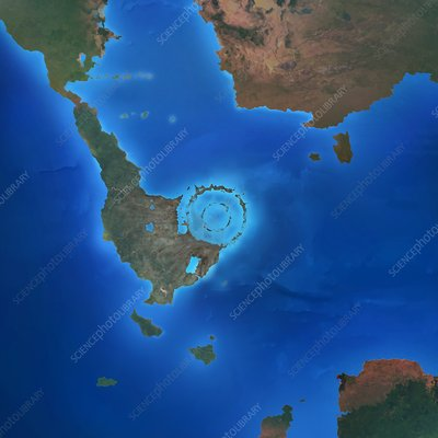 Chicxulub impact crater, illustration