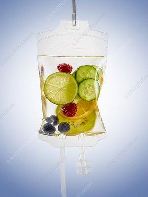 IV bag with fruits