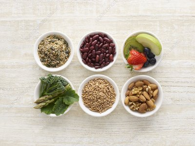 High fibre foods in bowls