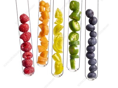 Fruits and vegetables in test tubes