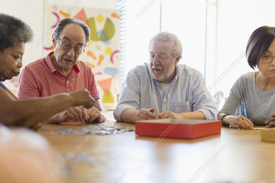 Senior friends playing games