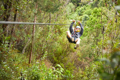 Man zip lining above trees in woods