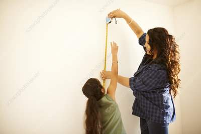 Mother and daughter measuring wall for project