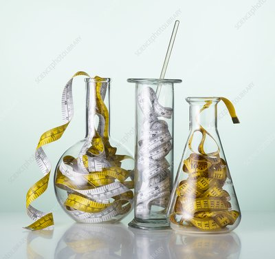 Laboratory glassware with tape measures