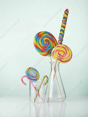 Laboratory glassware with candy
