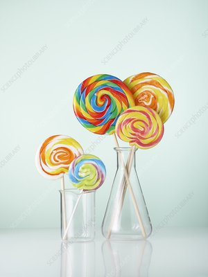 Laboratory glassware with lollipops