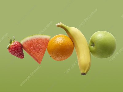Fresh fruit in a row
