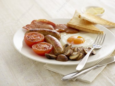 Full English breakfast served on a plate