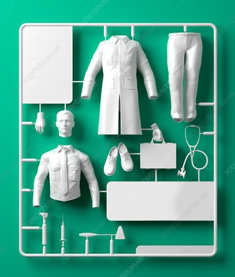 Model doctor kit, illustration