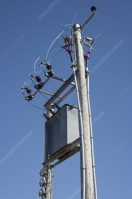 Step-down transformer on poles