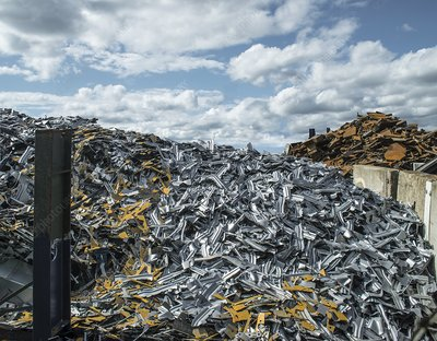 Piles of metal for recycling