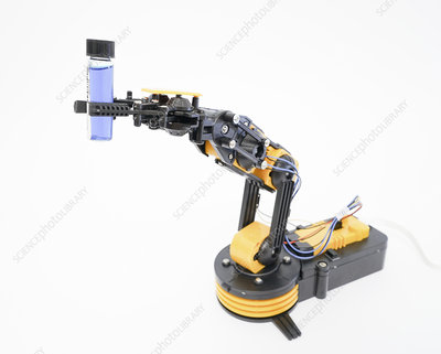Robotic arm holding phial