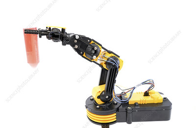 Robotic arm holding test tube