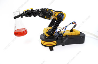 Robotic arm holding flask