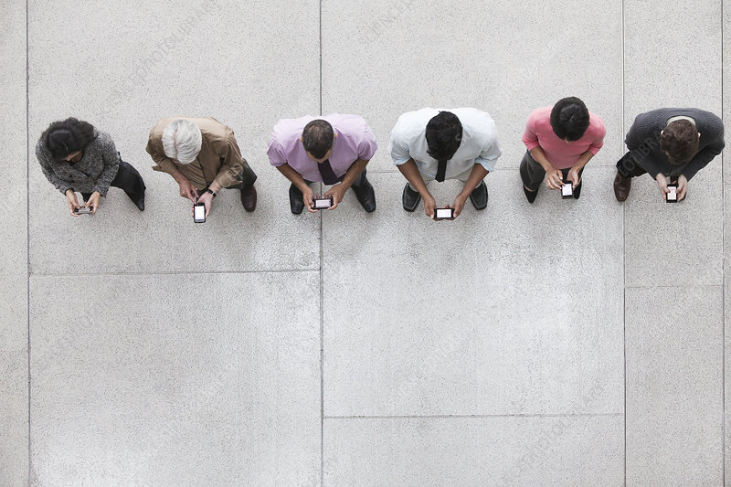 View looking down on a group of business people