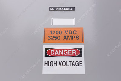 High voltage sign on DC Disconnect panel