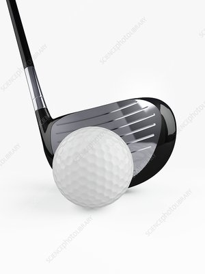 Golf club with golf ball, illustration