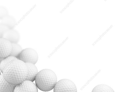 Group of golf balls, illustration