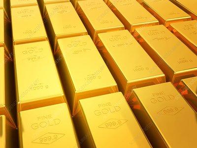 Gold bullion bars, illustration