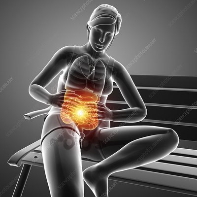 Woman with abdominal pain, illustration