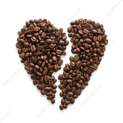 Coffee beans in broken heart shape