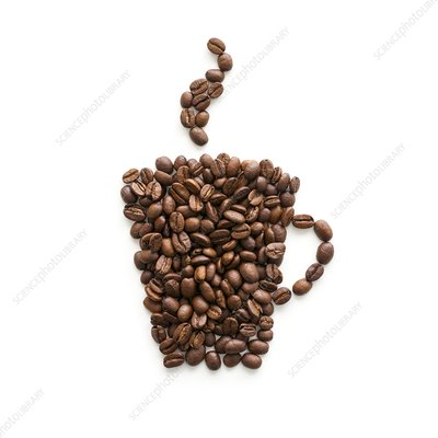 Coffee beans in mug shape