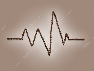 Coffee beans making an electrocardiogram line