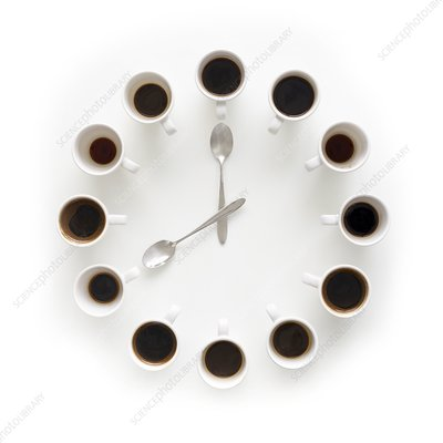 Cups of coffee making the shape of a clock