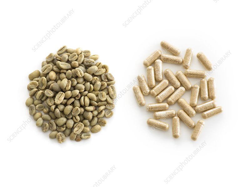 Green Coffee Beans And Weight Loss Supplements Stock Image