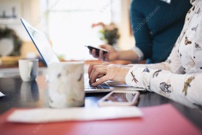 Senior woman using laptop in kitchen