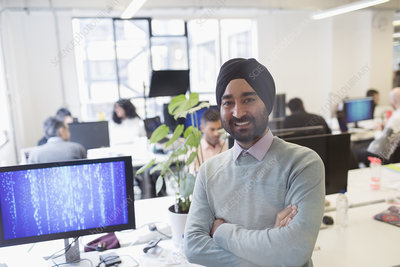 Portrait Indian computer programmer in turban