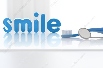 The word 'smile' in blue letters with toothbrush