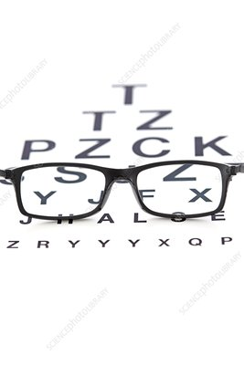 Sight chart and spectacles